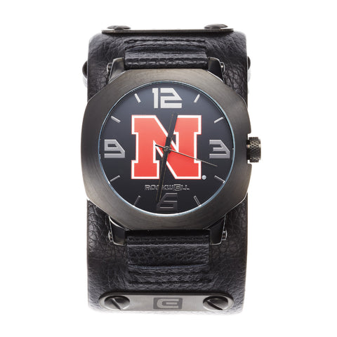 Sale 50% Off!!! Nebraska Huskers Rockwell Assassin Watch - Genuine Leather and Stainless Steel