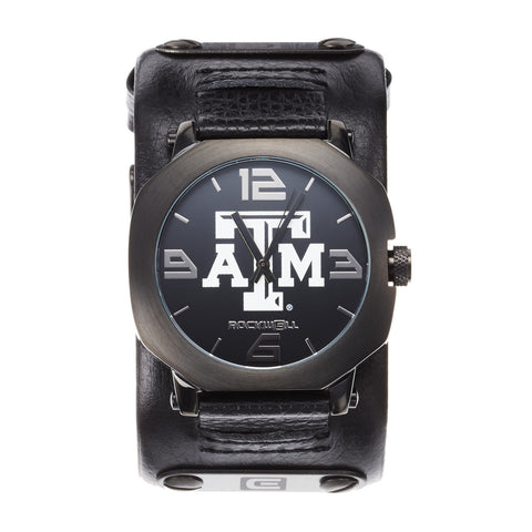 Texas A&M Aggies Rockwell Assassin Watch - Genuine Leather and Stainless Steel