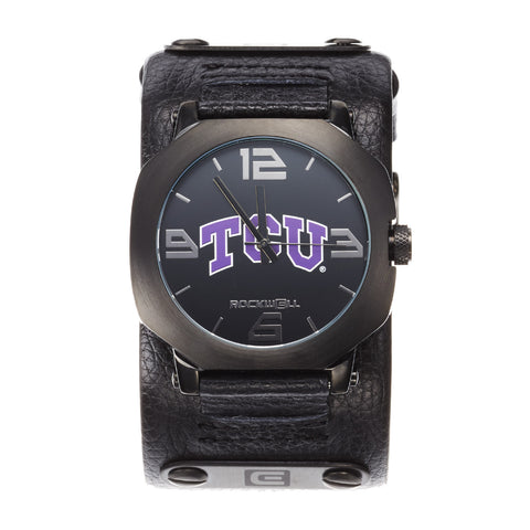 TCU Horned Frogs Rockwell Assassin Watch - Genuine Leather and Stainless Steel