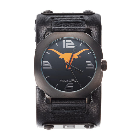 Texas Longhorns Rockwell Assassin Watch - Genuine Leather and Stainless Steel