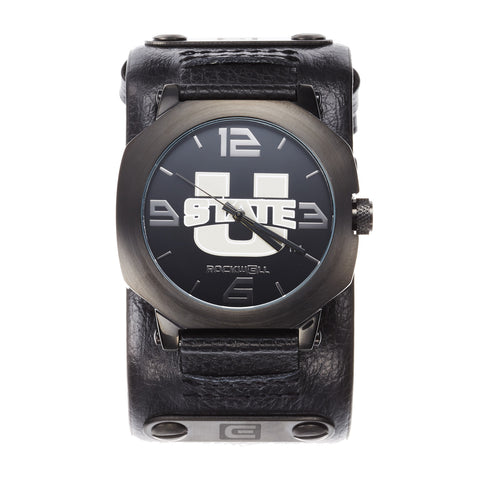 Utah State Aggies Rockwell Assassin Watch - Genuine Leather and Stainless Steel