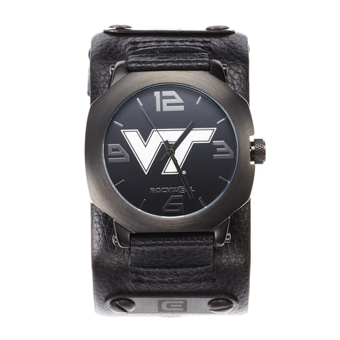 Virginia Tech Hokies Rockwell Assassin Watch - Genuine Leather and Stainless Steel