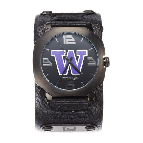 Washington Huskies Rockwell Assassin Watch - Genuine Leather and Stainless Steel