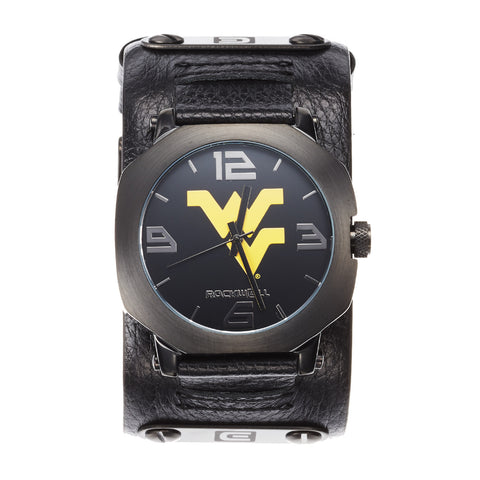 West Virginia Mountaineers Rockwell Assassin Watch - Genuine Leather and Stainless Steel