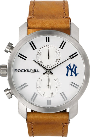 New york yankees silver apollo with brown leather bands