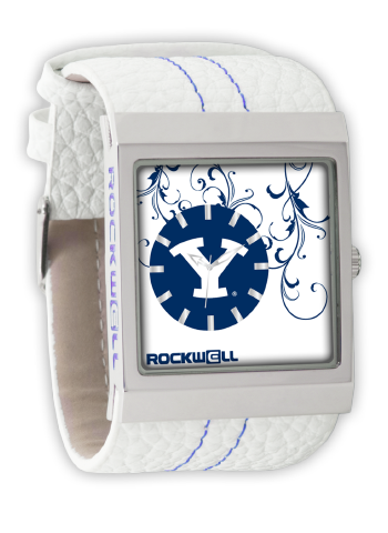 BYU Blue/White Leather Band Wrist Watch