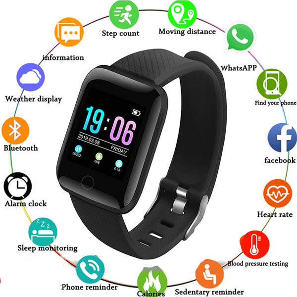 Smart Watch 116 Plus Color Screen Heart Rate Smart Wristband Sports Watches Smart Band Waterproof Smartwatch for Android iOS