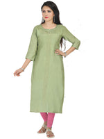 Irina Bronze Pista Green Colour Cotton Silk Kurti