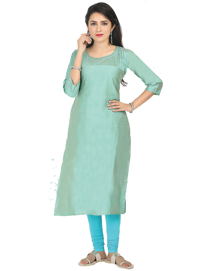 Irina Bronze Turkoyish Blue Colour Cotton Silk Kurti