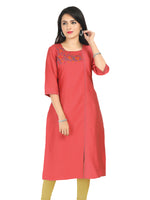 Irina Camila Tomato Red Colour Cotton Silk Kurti