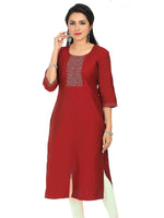 Irina Cynthiya Maroon Colour Cotton Silk Kurti