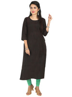 Irina Golden Black Colour Cotton Silk Kurti