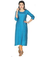 Irina Golden Sky Blue Colour Cotton Silk Kurti