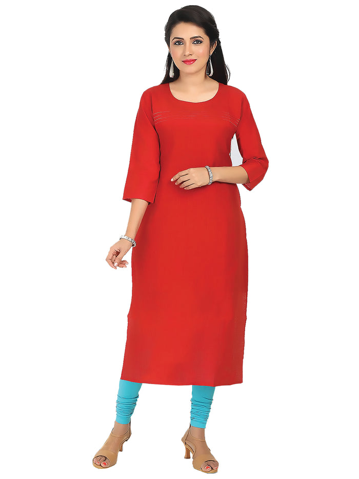 Irina Golden Tomato Red Colour Cotton Silk Kurti