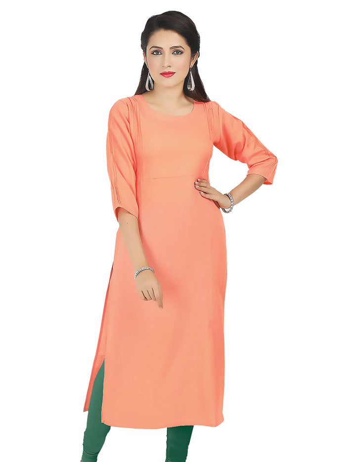 Irina Sofia Peach Colour Poly Cotton Kurti