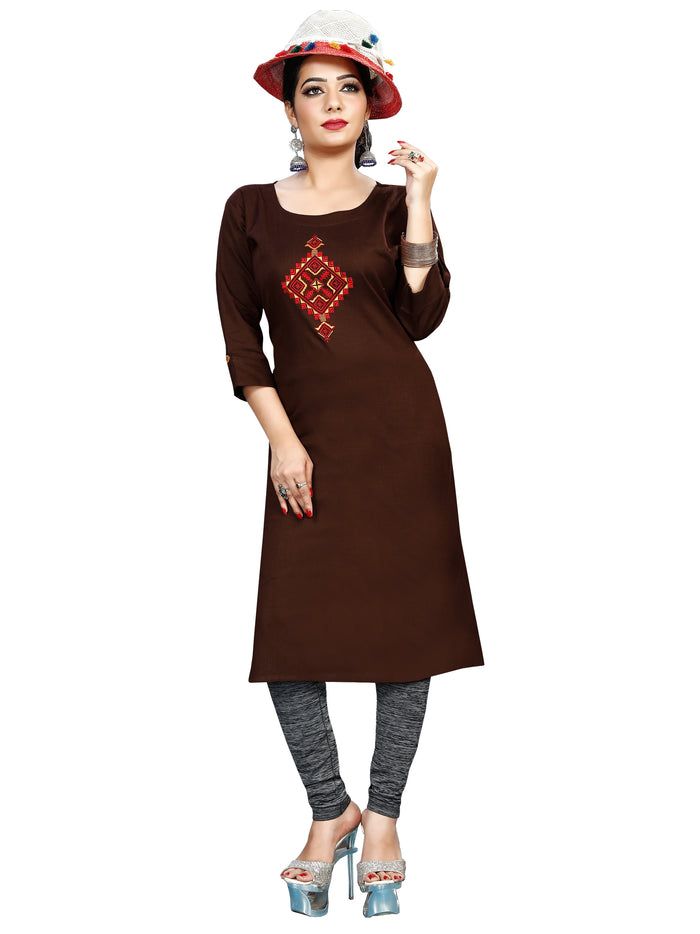 Irina Vol 01 Coffee Brown Colour Cotton Kurti