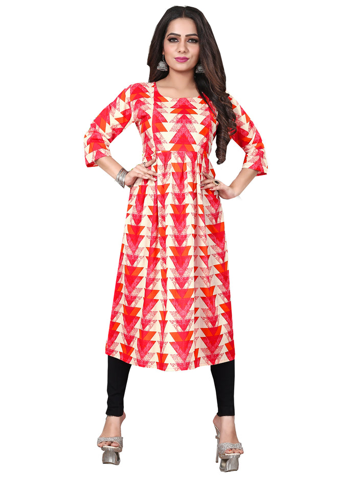 Irina Vol 04 Red Orange Colour Cotton Kurti