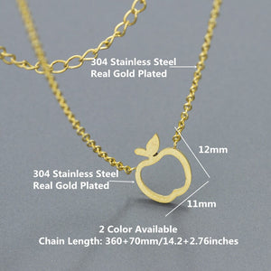 Cute Apple Pendant Necklaces Stainless Steel Long