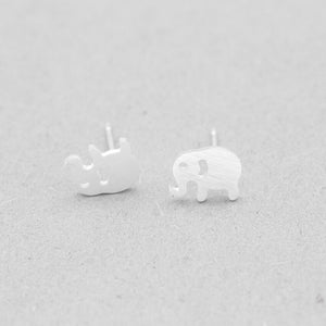 Cute Lucky Elephant Charm Stud Earrings Stainless