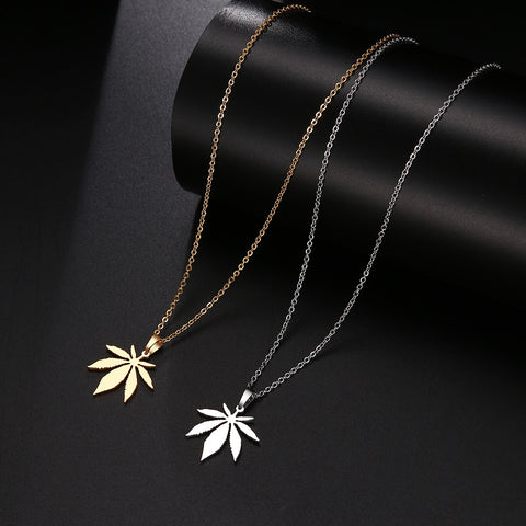 Stainless Steel Necklace For Women Man Maple Leaf Choker Pendant Necklace