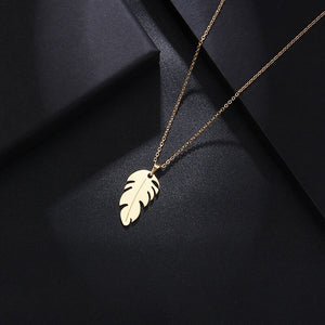 Stainless Steel Necklace For Women Man Lover's Feather Gold And Rose Gold Color Pendant Necklace