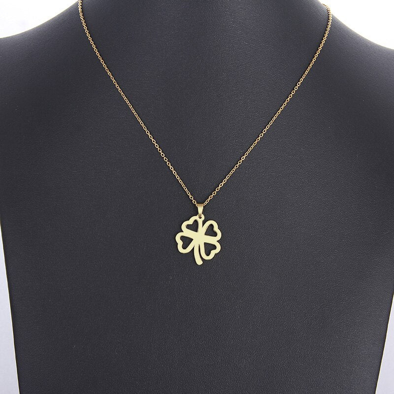 Stainless Steel Necklace For Women Man Lover's Hollow Clover Gold And Silver Color Pendant Necklace
