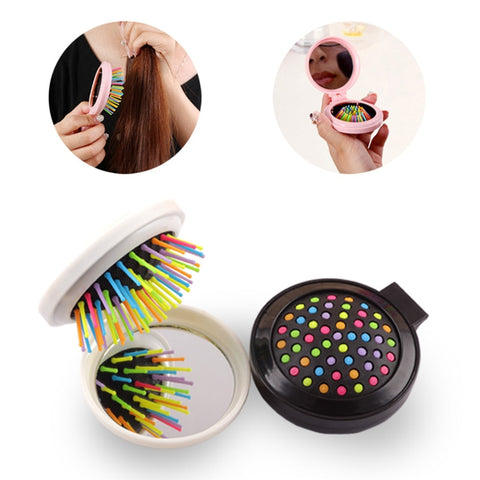 Portable Round Pocket Small Size Travel Massage Folding Comb Girl Hair Brush With Mirror Styling Tools 7 Colors