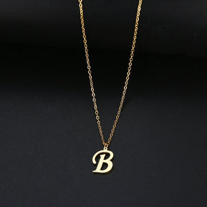 Women A-Z Alphabet Letter Pendant Necklaces Personalization Stainless Steel Necklace Glamour Jewelry