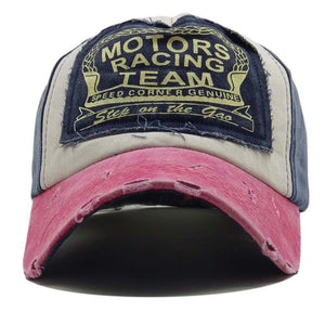 The classic worn-out sticker baseball cap washed cotton MOTO men and women fashion outdoor sunshade hat
