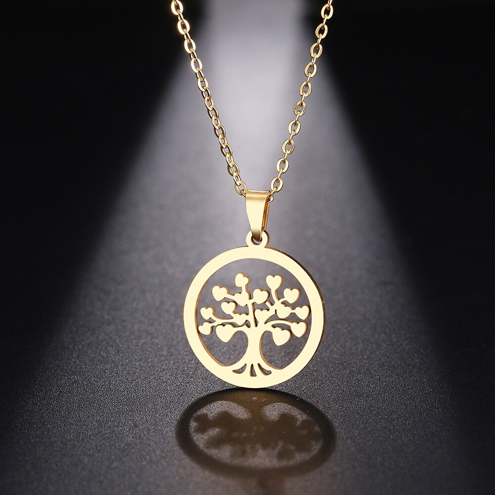 Stainless Steel Necklace For Women Man Heart Tree Pendant Choker Rose Gold Necklace