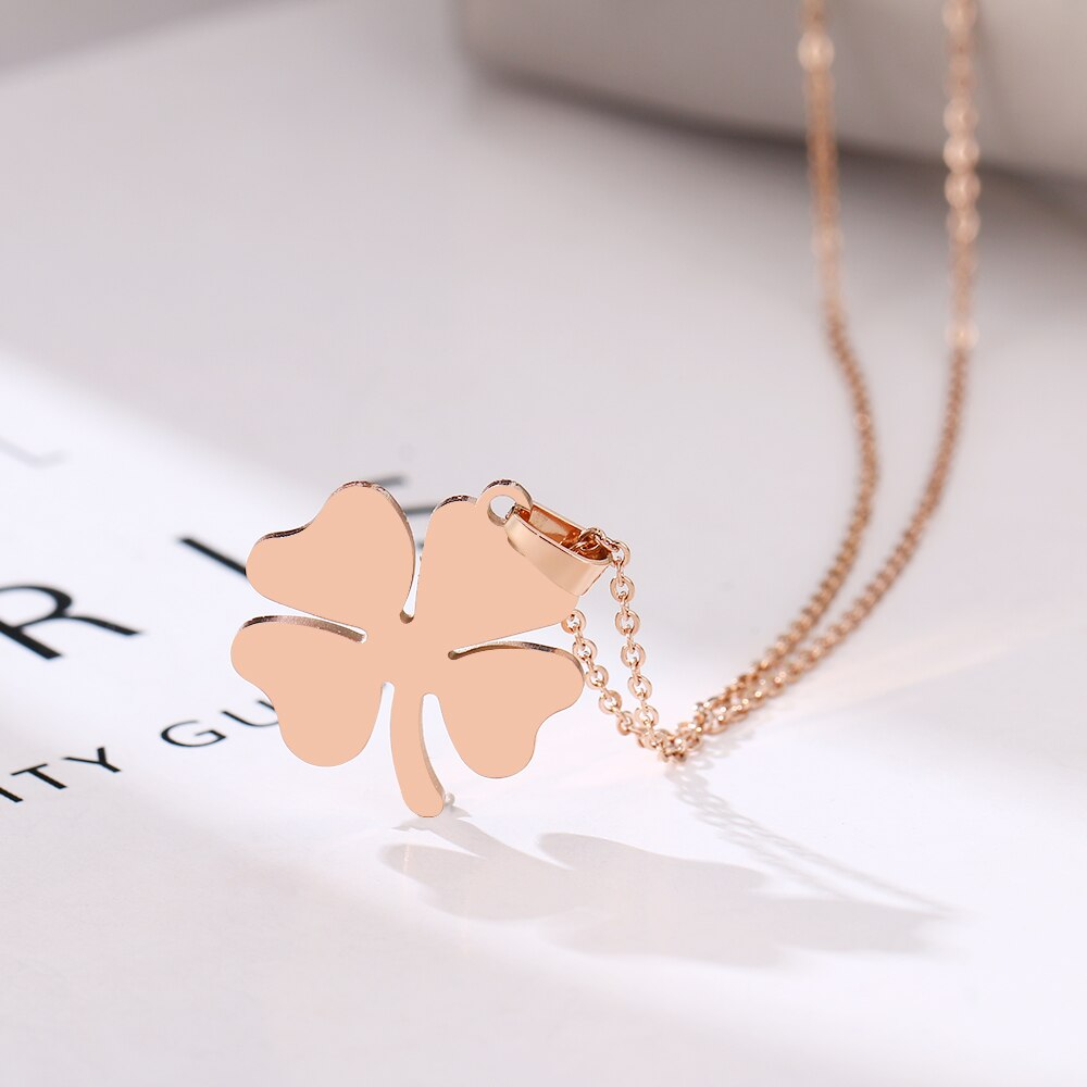 Stainless Steel Clover Necklace Rose Gold Colors Bijoux Collier Elegant Women Jewelry