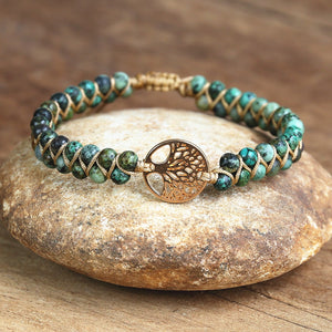 Tree of Life Charm Natural Stone Bracelet