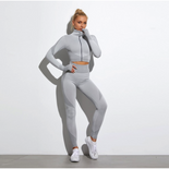 2 Pics Long Sleeve Shirts High Waist Leggings Sports Suits