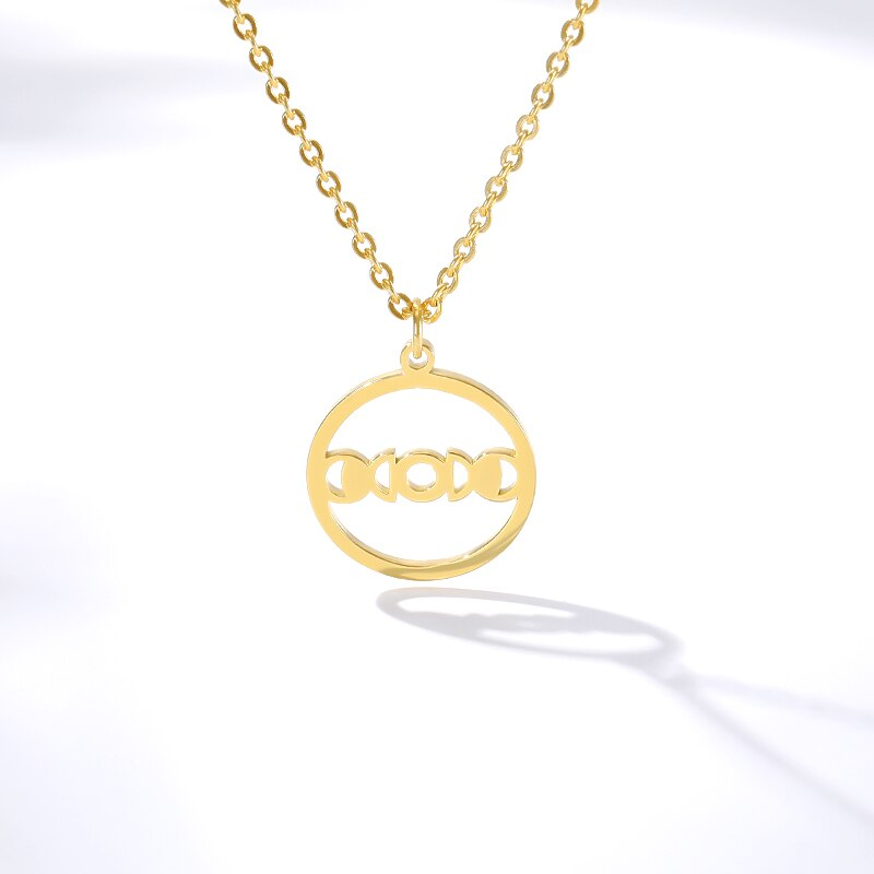 Stainless Steel Round Circle Pendant Necklaces