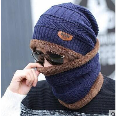1 Set Cotton Wool Coral Fleece Scarf Beanies Men