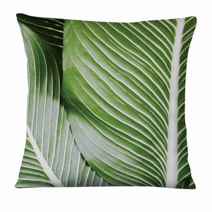 Green Leaves Thin Linen Pillowcase