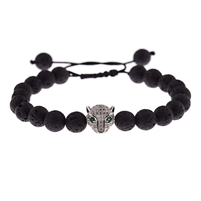 Skeleton Black Natural Lava Stone Beads Bracelet 3 Colors