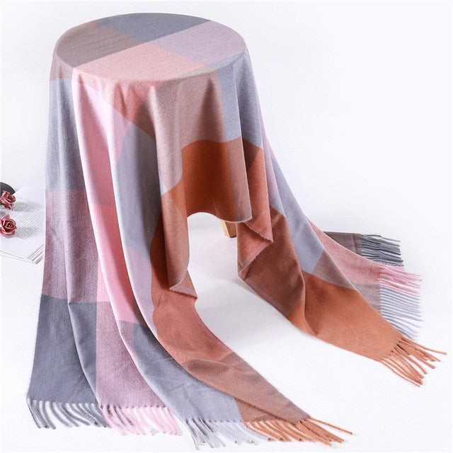 Fashion plaid cashmere scarves