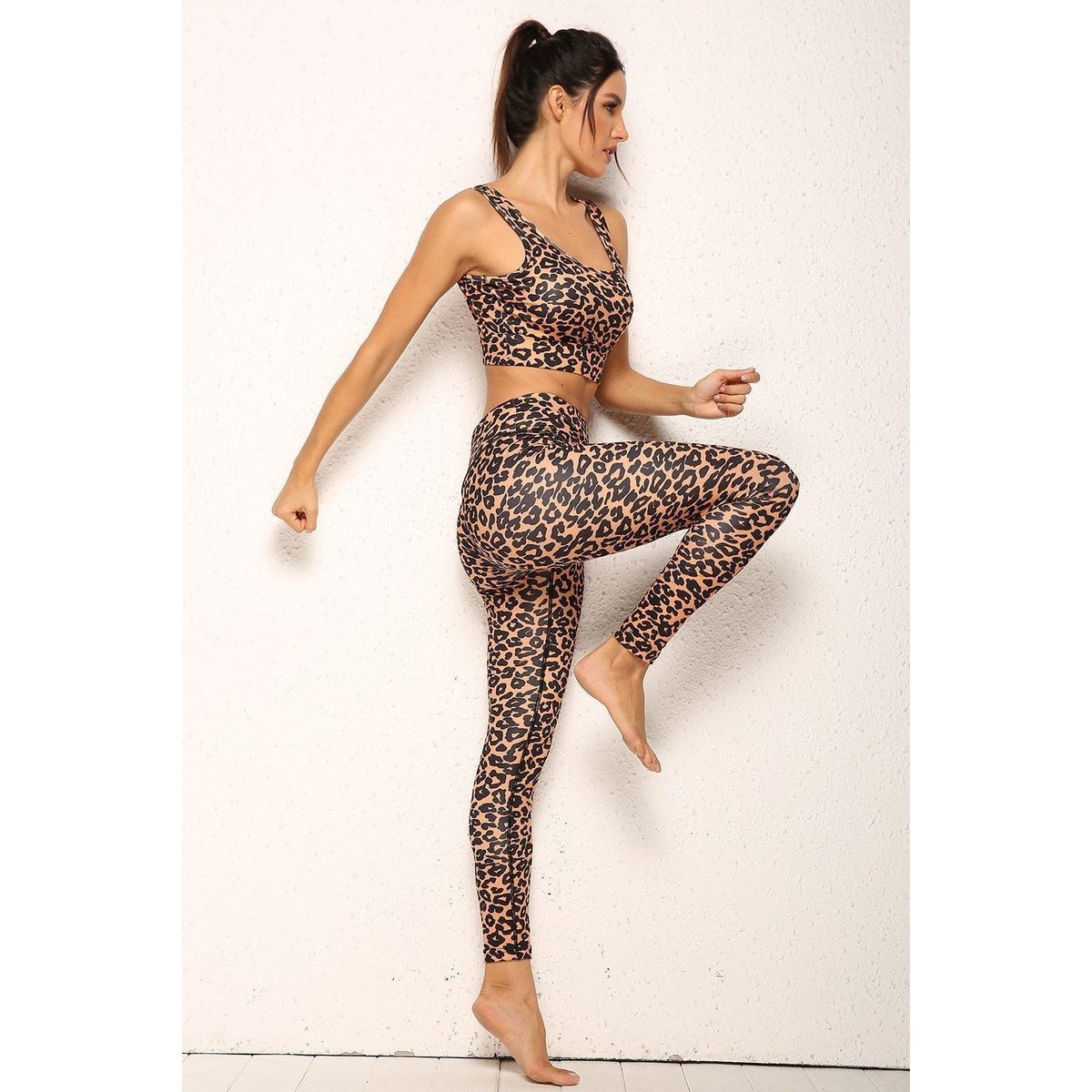 Leopard Printed Yoga Running Sports Suits