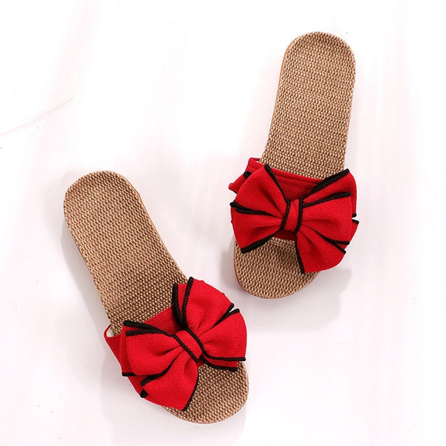 Comfortable Flax Slippers Striped Bow Linen Flip Flops