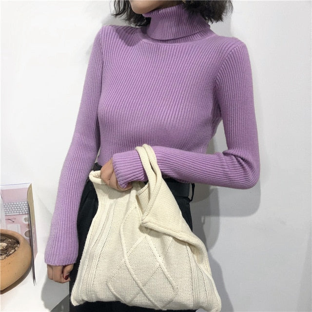Women Knitted Ribbed Pullover Sweater