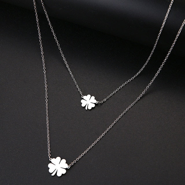 DOTIFI For Women Double Lucky Clover Cross Necklace Stainless Steel Gold and Silver Color Jewelry Gift