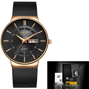 Luxury Waterproof Ultra Thin Date Clock Male Steel Strap Casual Quartz Watch