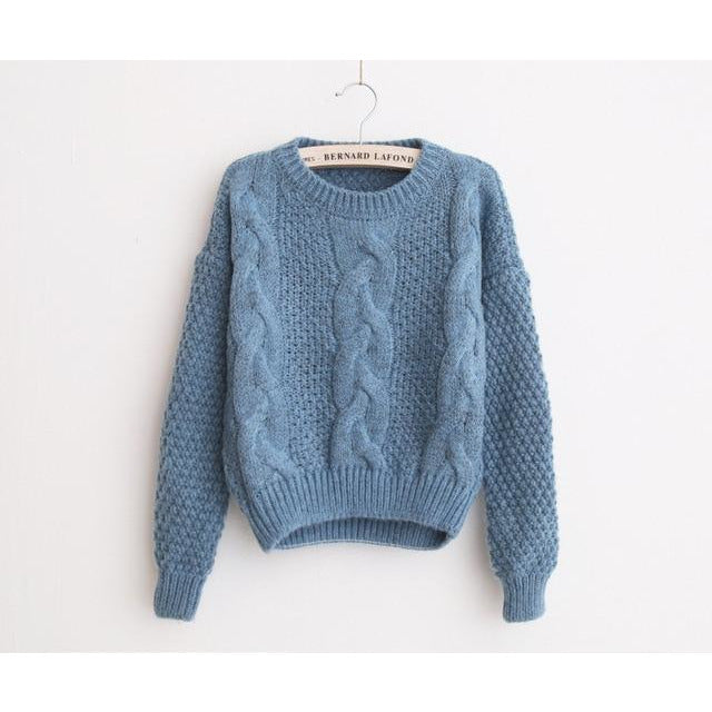 Crewneck Mohair Pullover Sweaters(One Size)
