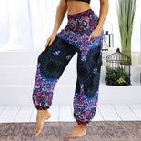 Womens Loose Yoga Pants Floral Print Wide Leg Trousers