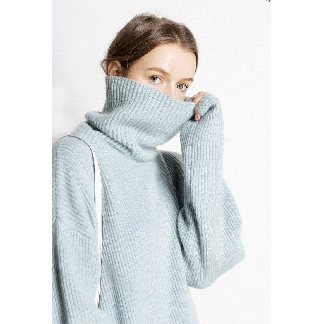 New Pure Cashmere Sweater High Collar Thick Pullover Winter Warm Female Soft Wild Sweater