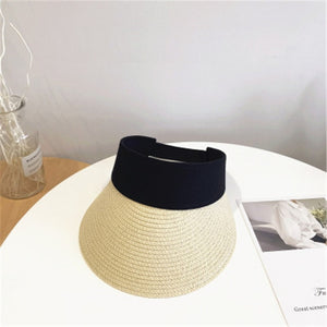 Magic Tape Panama Women Straw Hat Empty Top Women's Summer Hat