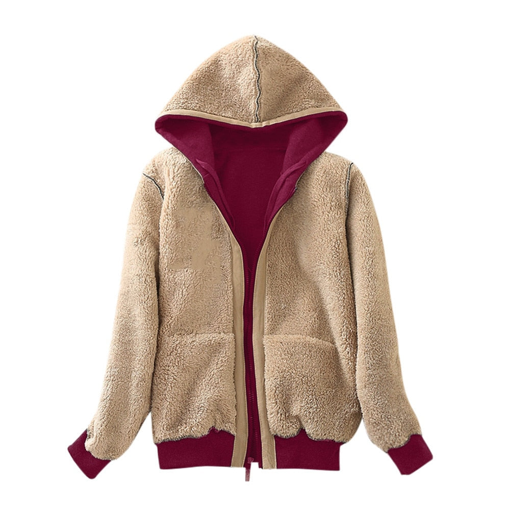 Women Fluffy Fur Fleece Lined Zipper Up Hooded Jacket