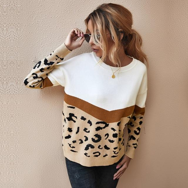 Fashion Leopard Patchwork Knitted Sweater