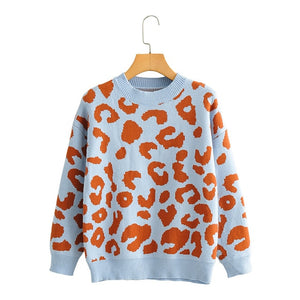 Women Leopard Knitted Sweater